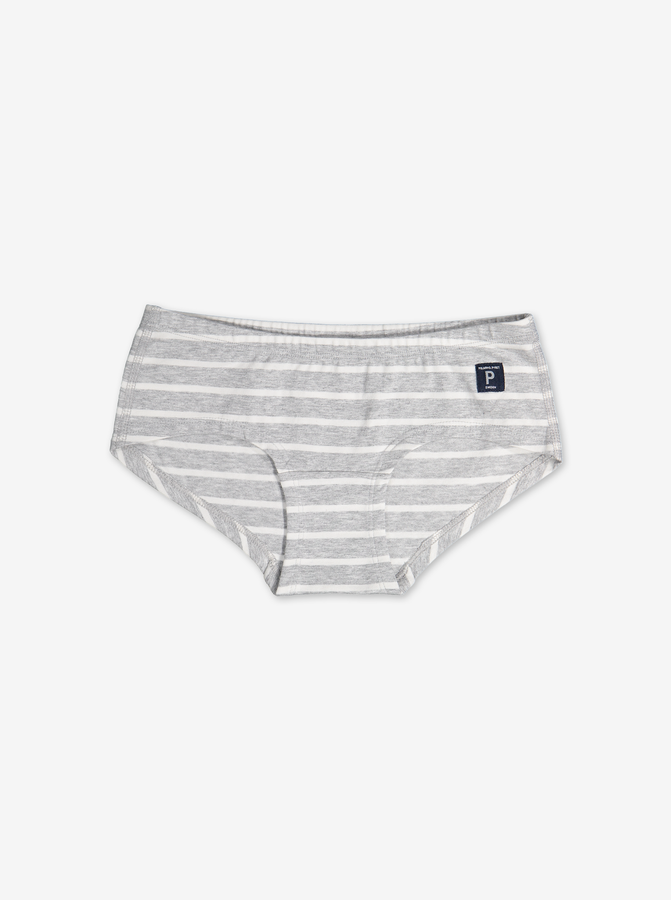 PO.P Stripe Girls Hipster Briefs Grey Girl 1-12y