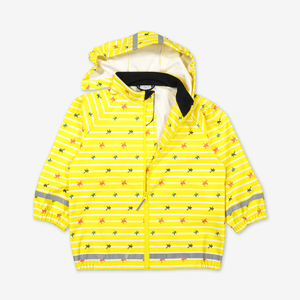 Yellow raincoat for kids with frog & stripes design, includes a detachable hood, elastic cuffs, and reflectors.