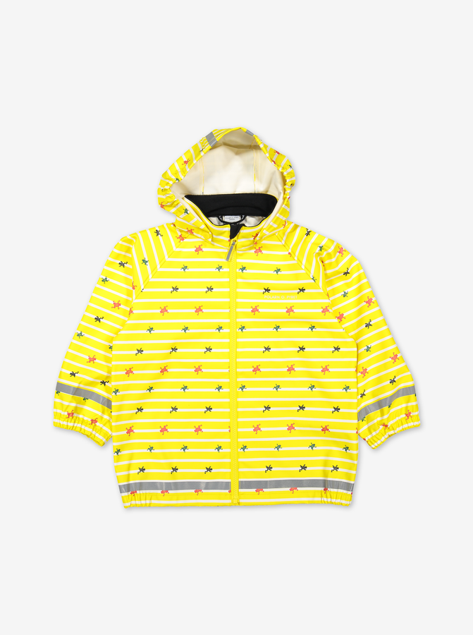 Yellow raincoat for kids with frog & stripes pattern, made of polyester, comes with a detachable hood and elastic cuffs.
