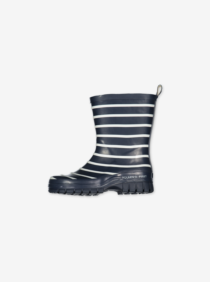 PO.P Stripe Kids Wellies---Navy---Unisex---UK 4-UK 1