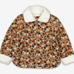 Floral Corduroy Zip Kids Jacket