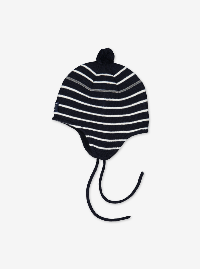 Merino Kids Bobble Hat---Navy---Unisex---4m-9y