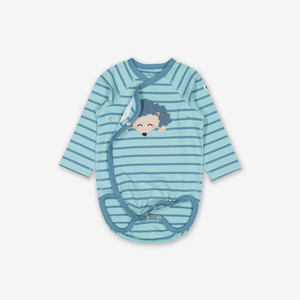 Appliqu㉠Hedgehog Wraparound Baby Bodysuit Natural