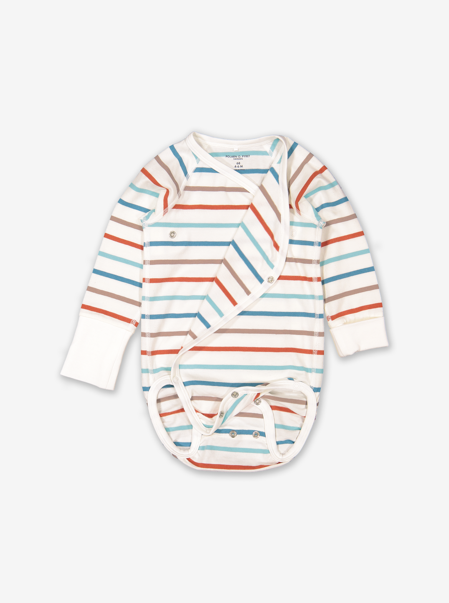 Striped Wraparound Baby Bodysuit Black