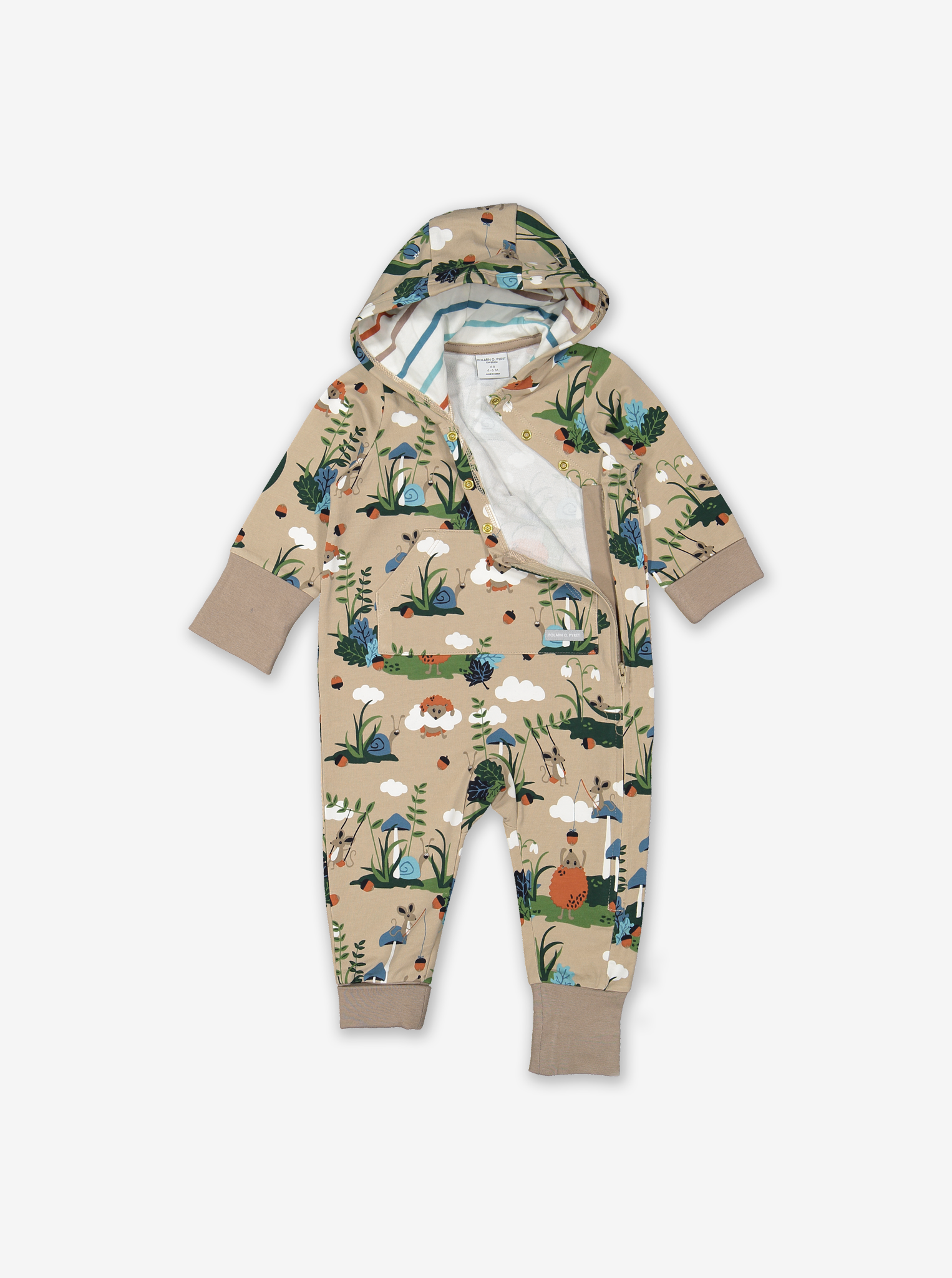 Woodland Print Baby All-In-One Pink