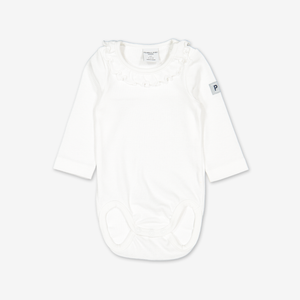 Front view of the white ruffled organic baby grows for babies and toddlers, made from comfortable organic cotton fabric.