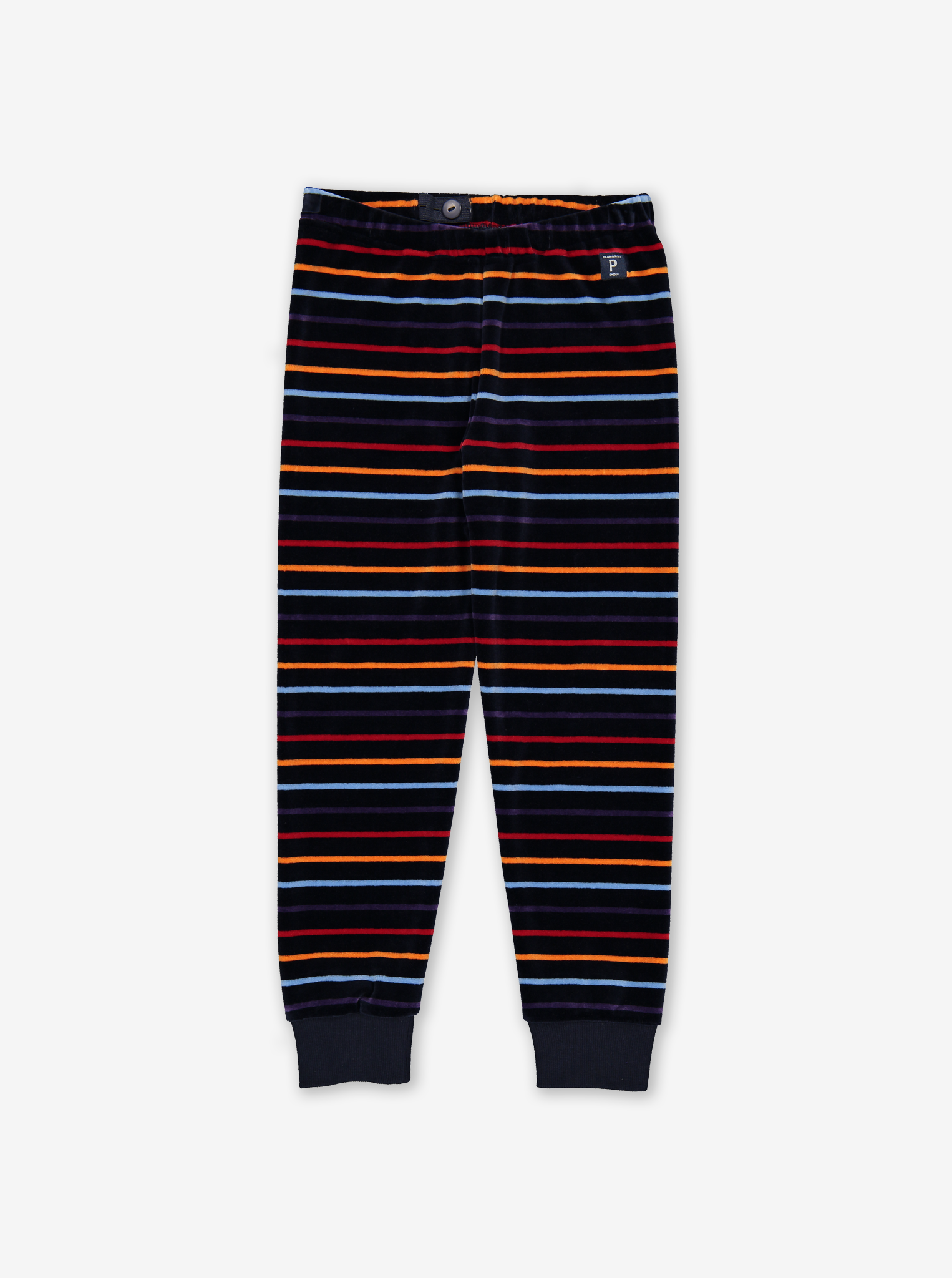 Striped Velour Kids Trousers Blue