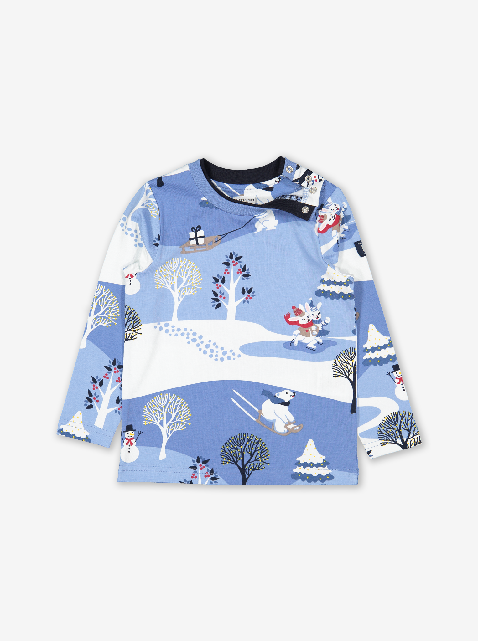 Snow Scene Kids Top Blue