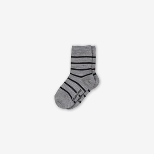 Striped Merino Kids Socks Grey