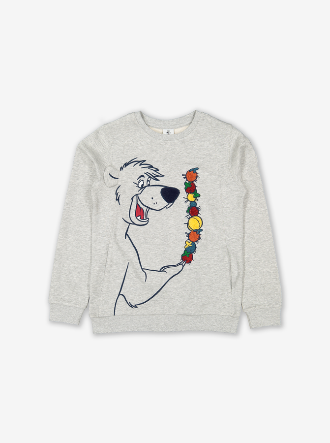 Jungle Book Embroidered Kids Sweatshirt Grey