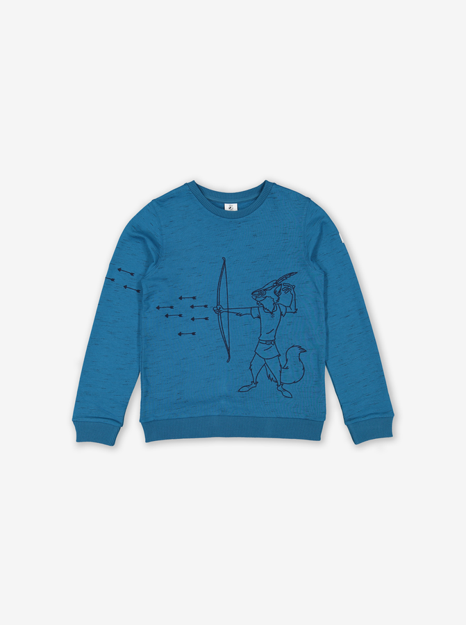 Robin Hood Embroidered Kids Sweatshirt Blue