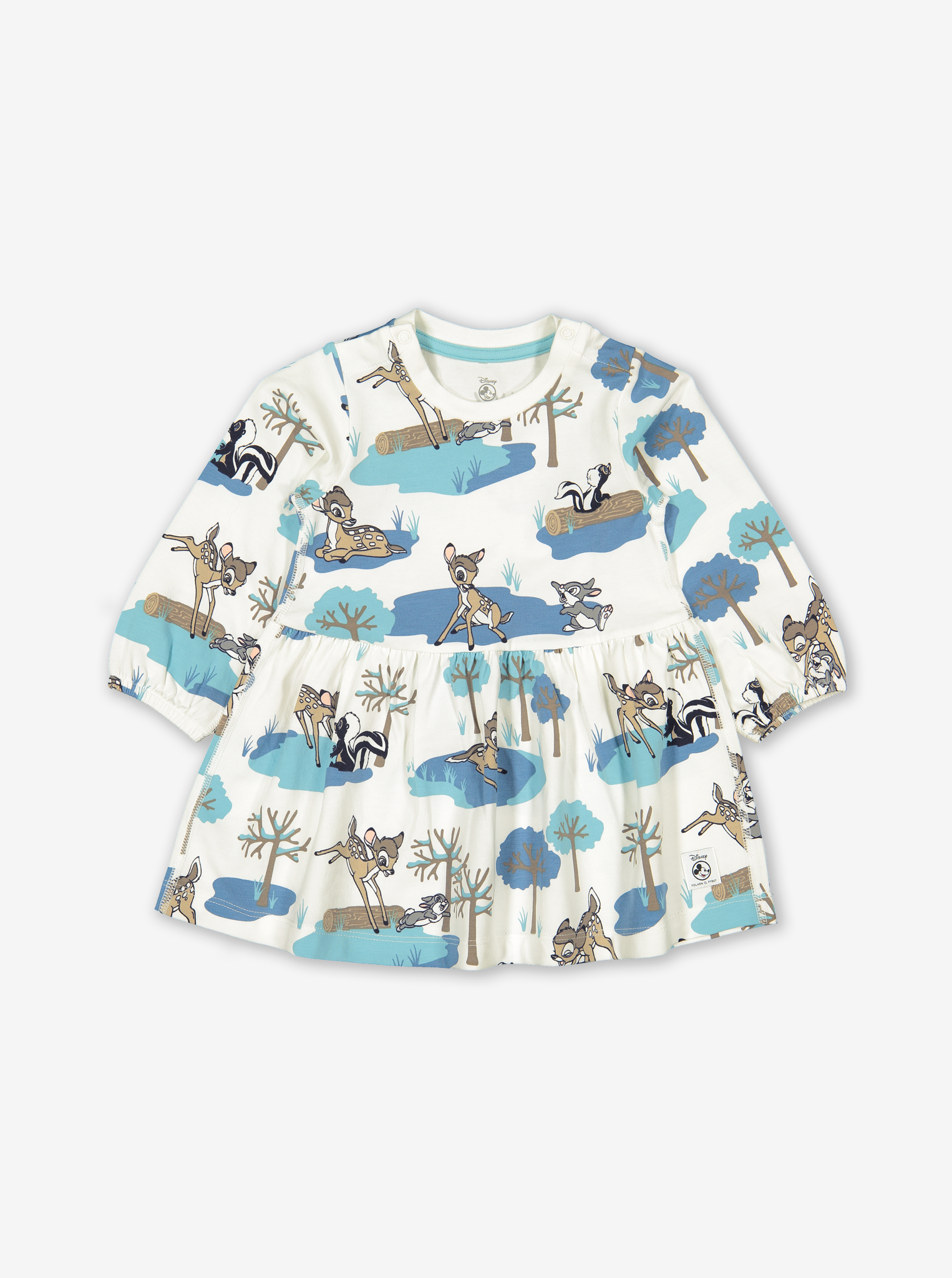 Bambi Print Baby Dress Turquoise