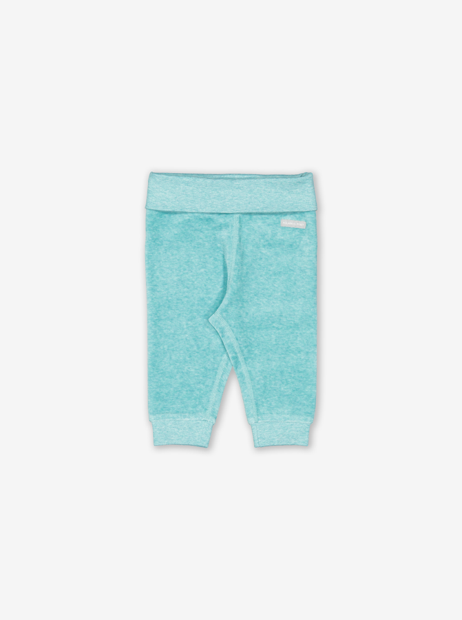 Velour Baby Trousers Turquoise