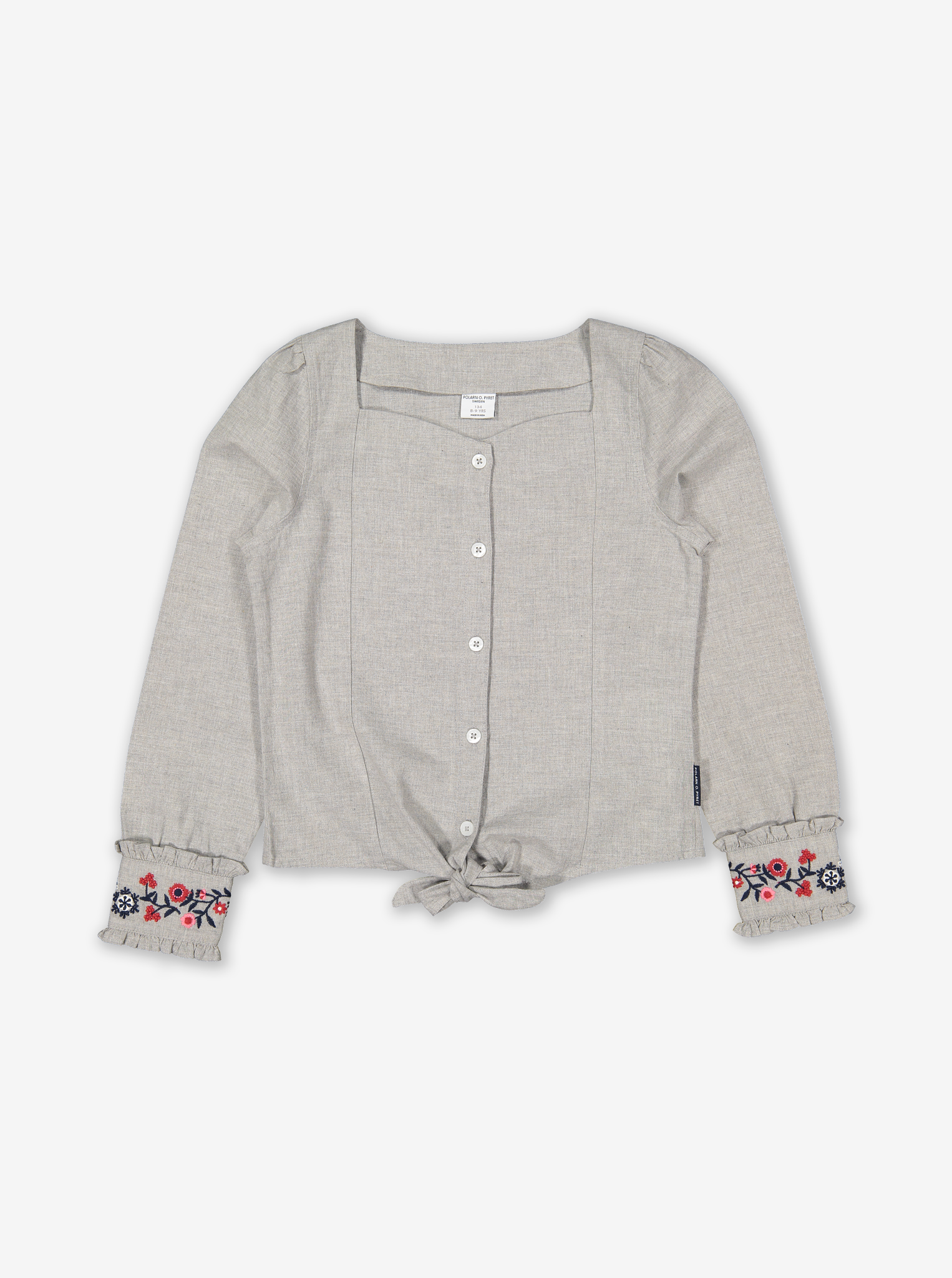 Scandi Embroidered Kids Top Grey