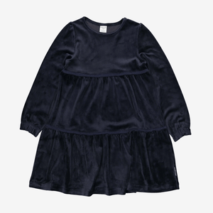 Velour Kids Dress Blue