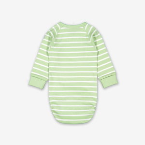 Striped Appliqu㉠Wraparound Baby Bodysuit-Unisex-0-6m-Green