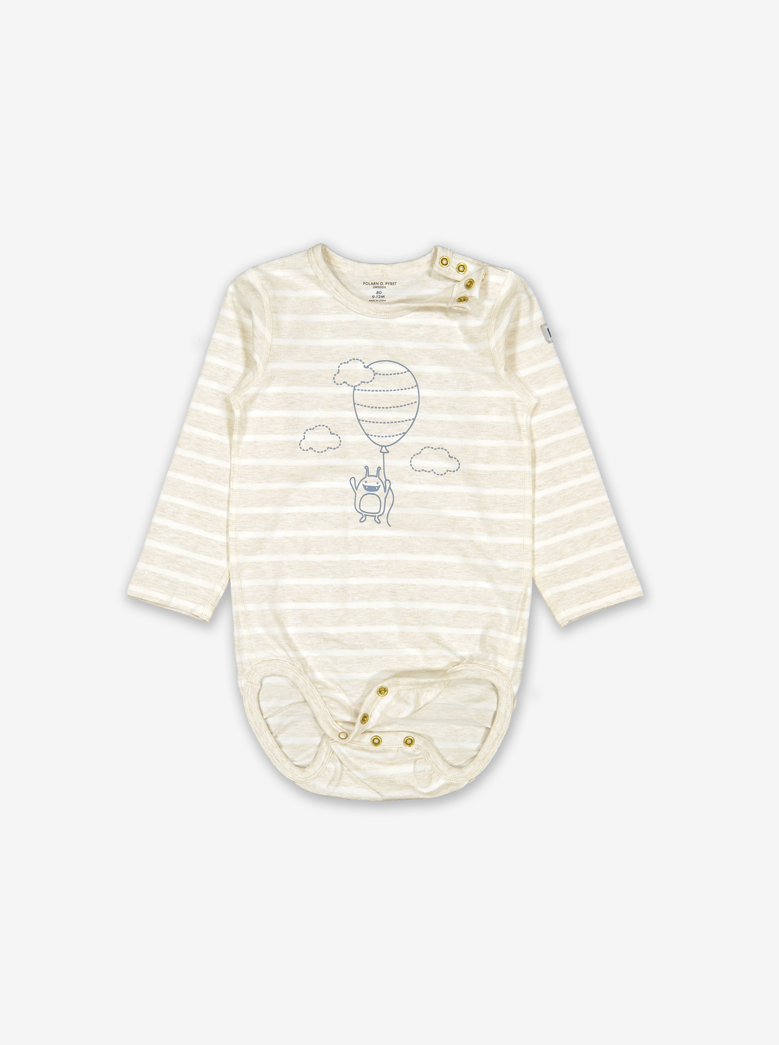 Striped Balloon Baby Bodysuit-Unisex-6-12m-White