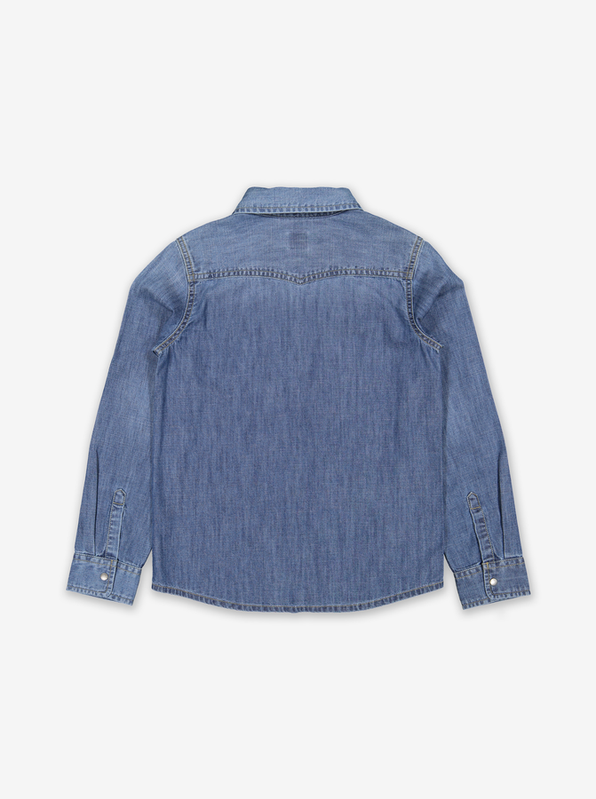 Kids Denim Shirt-Unisex-6-12y-Blue
