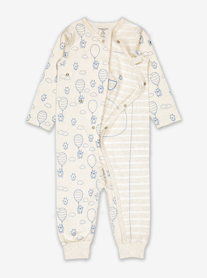 Balloon Print Baby Wrap All-In-One-Unisex-Preterm-12m-White