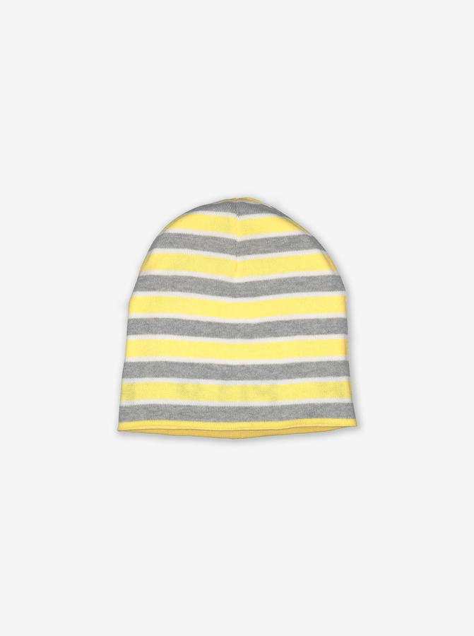 Reversible Kids Beanie Hat-Unisex-Yellow-9m-12y