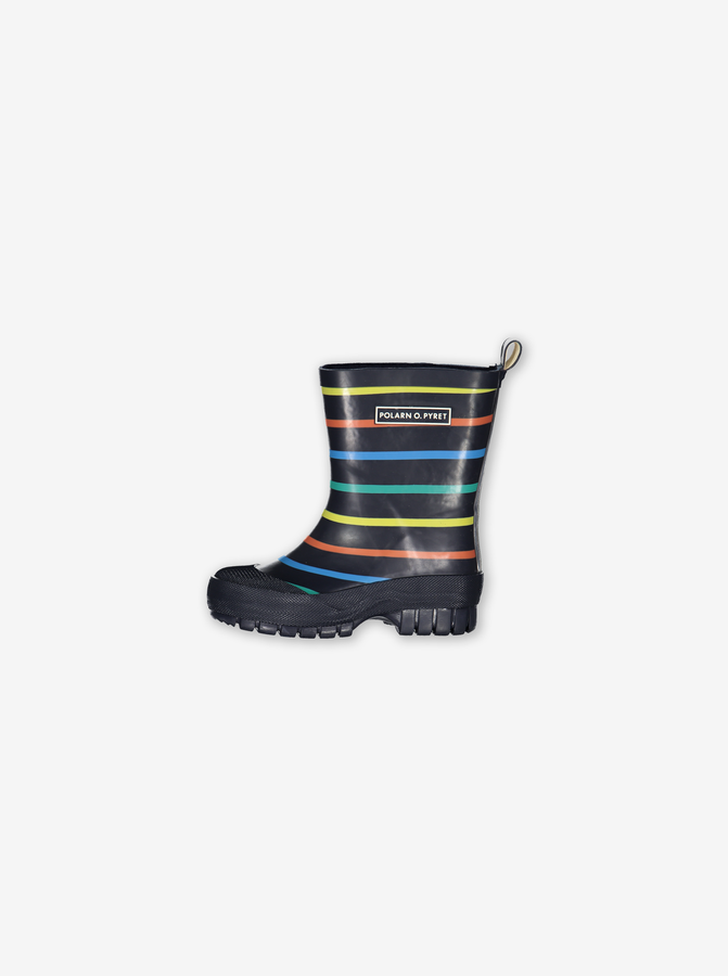 Po.P Multi Stripe Kids Wellies-Unisex-Blue-UK4 - UK1