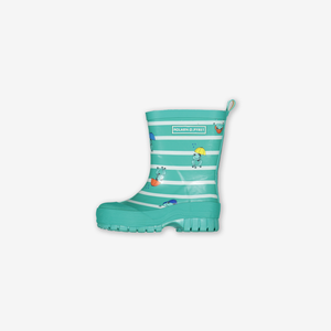 Frogs & Stripes Kids Wellies-Unisex-Turquoise-UK4 - UK1