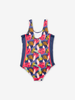 Swimsuit with tropical print-Girl-6-12y-Blue