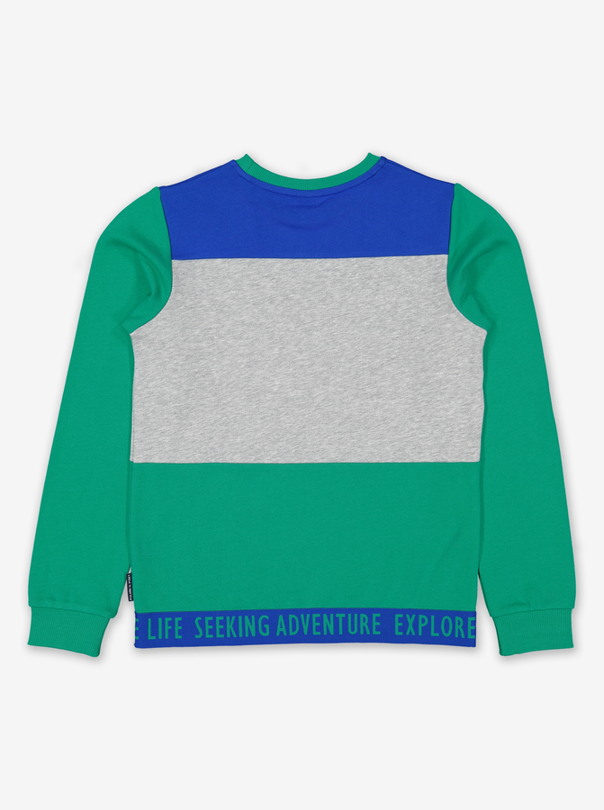 Block Colour Kids Sweatshirt-Boy-6-12y-Green