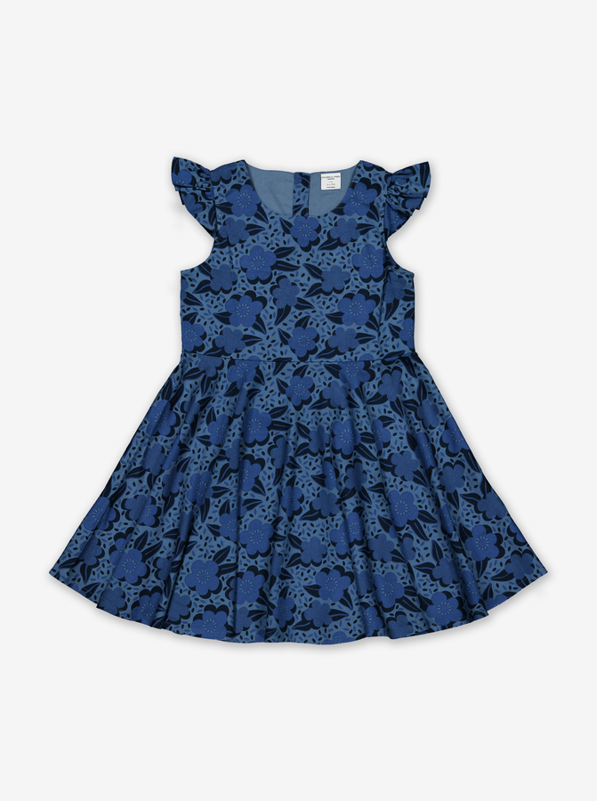 Floral Print Dress-Girl-1-12y-Blue