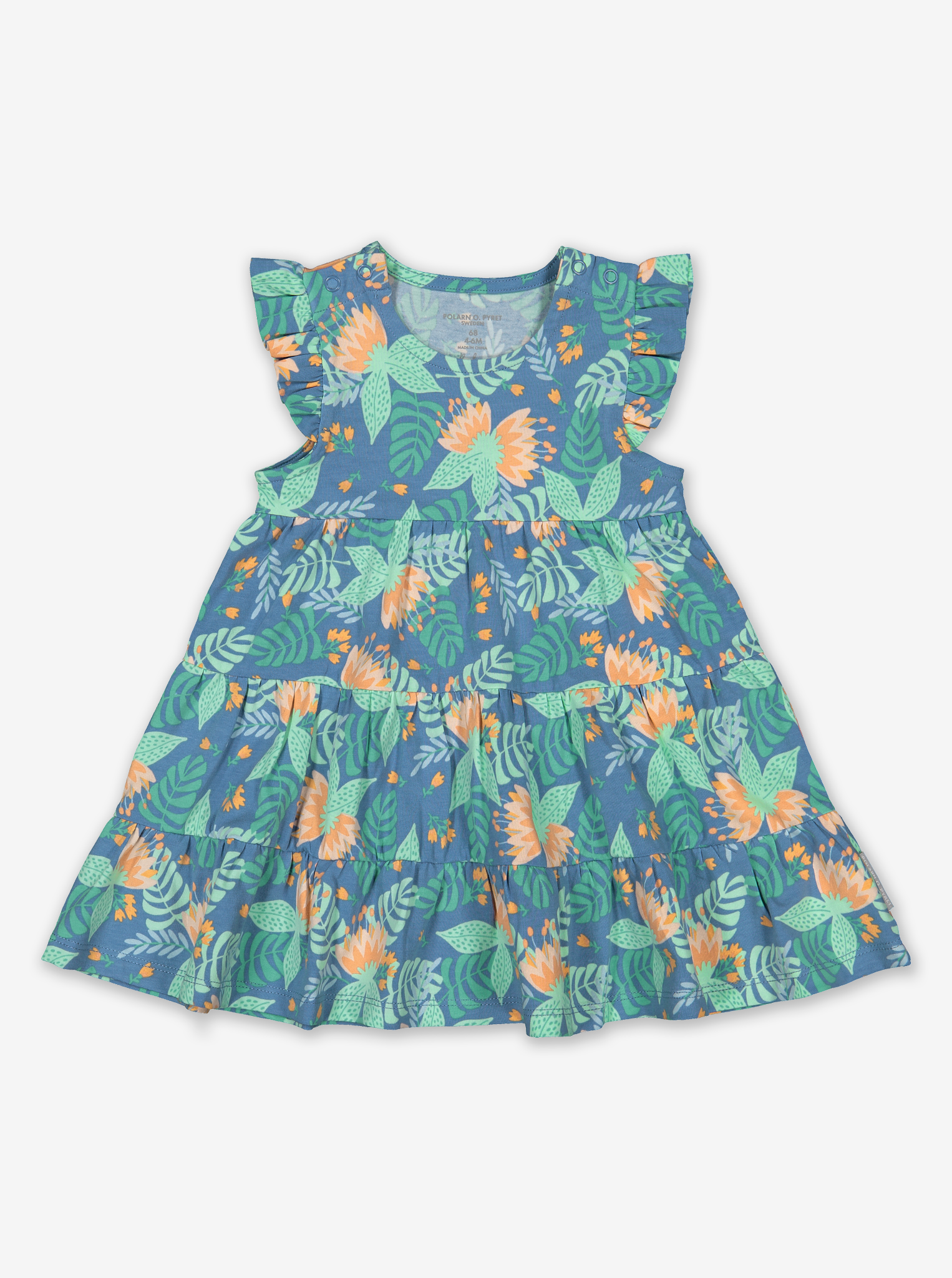 Tropical Print Baby Dress-Girl-0-1y-Turquoise