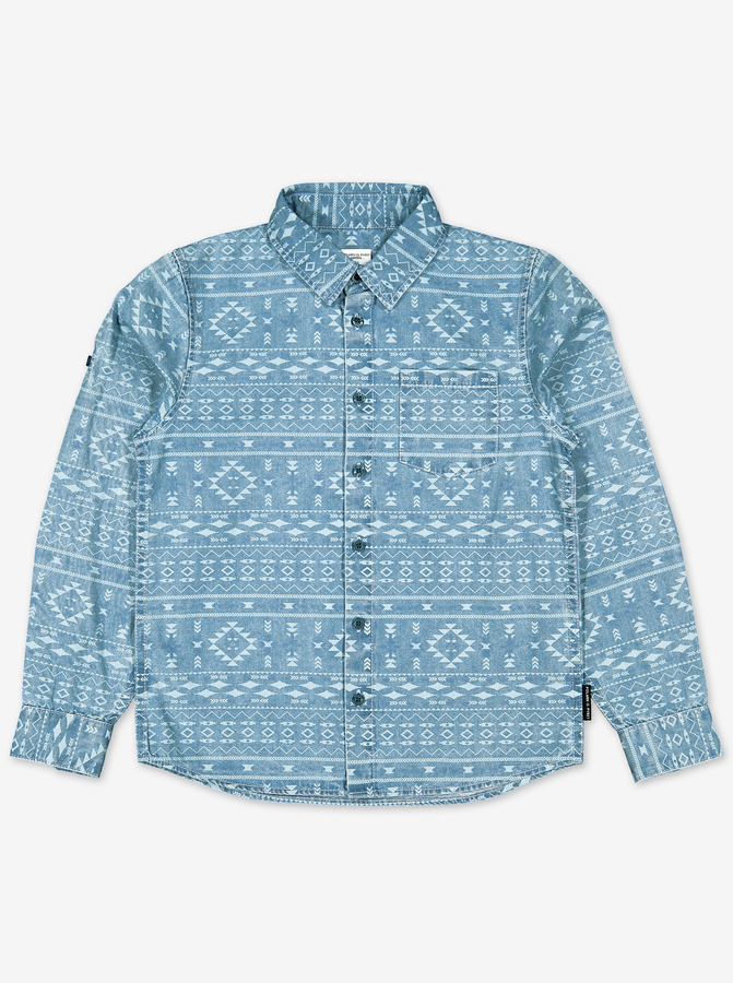 Aztec Print Kids Shirt-Boy-6-12y-Blue