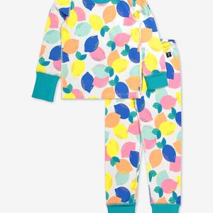 Lemon Print Kids Pyjamas-Girl-1-12y-White
