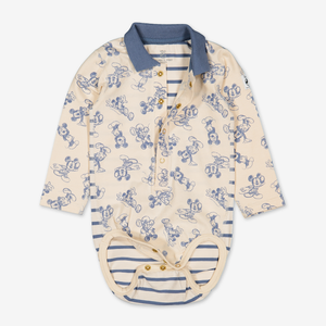 Mickey Mouse Baby Polo Bodysuit-Boy-0-1y-Beige