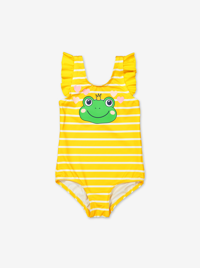 Stripe swimsuit with ruffles-Girl-6m-2y-Yellow