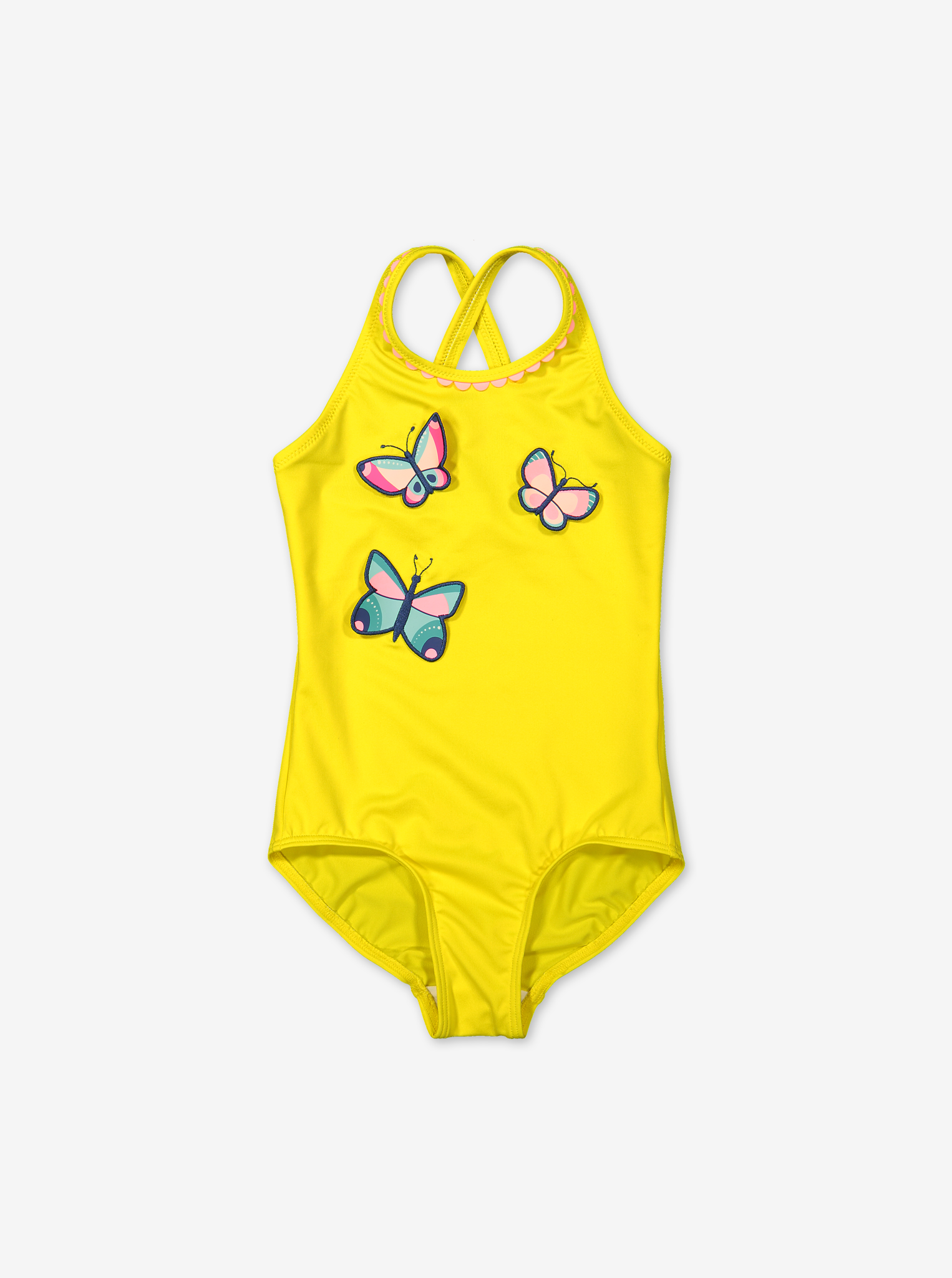 Swimsuit with butterfly applique-Girl-1-6y-Yellow