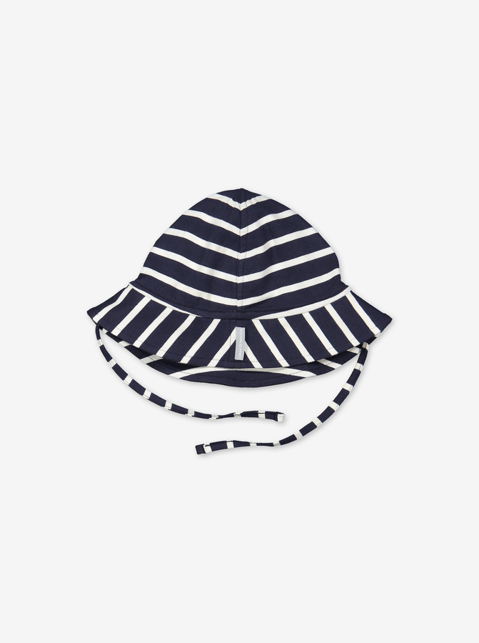 Striped sun hat with tie strings for baby-Unisex-1m-2y-Blue