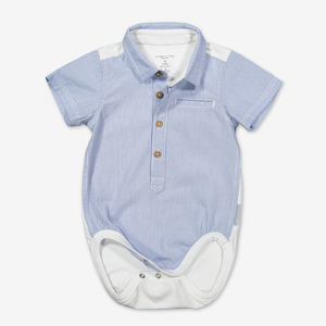 Stripe polo bodysuit for baby-Boy-0-6m-White