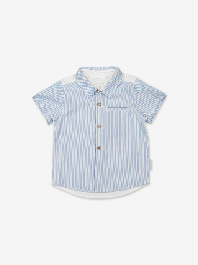 Stripe polo shirt for baby-Boy-6-12y-White