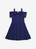 Summer Shoulder Kids Dress-Girl-6-12y-Blue