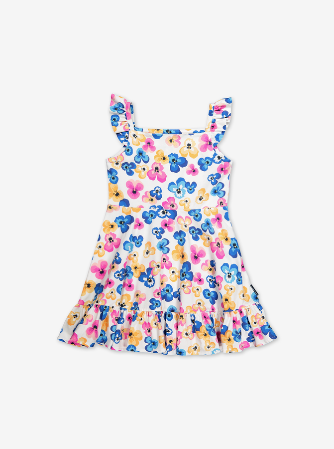 Floral Print Dress-Girl-1-6y-White