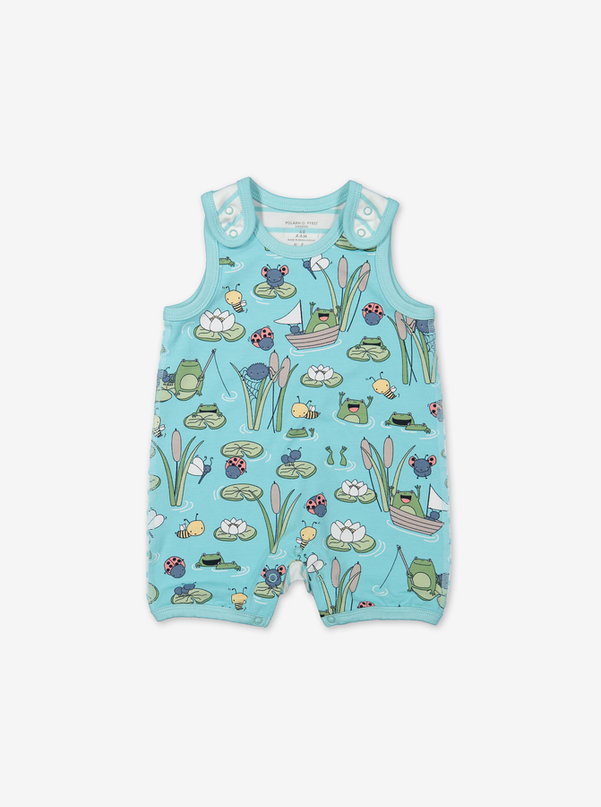 Pond Print Baby Playsuit-Unisex-0-1y-Turquoise