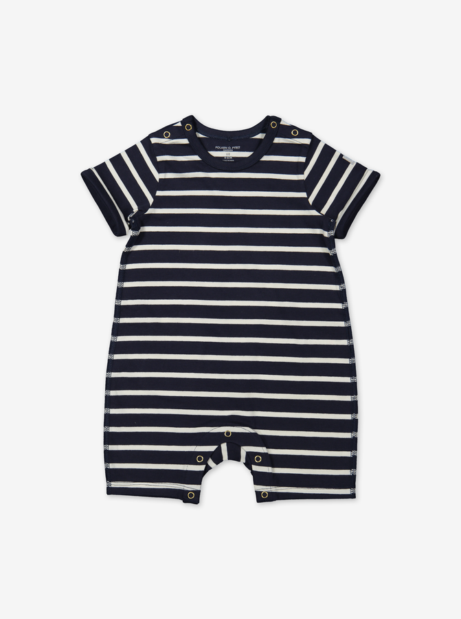 Stripe playsuit for baby-Unisex-0-1y-Blue