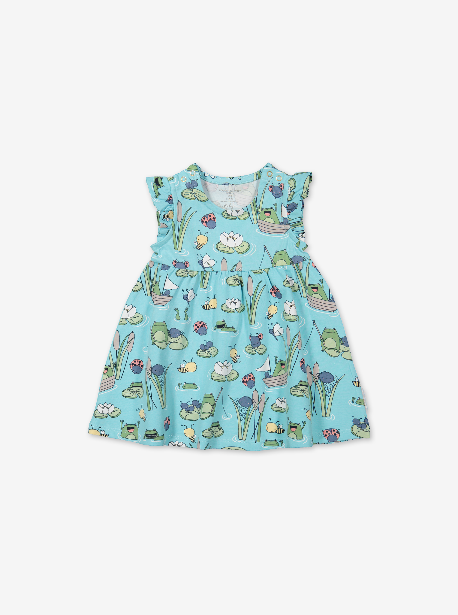 Pond Print Baby Dress & Shorts Set-Girl-0-1y-Turquoise