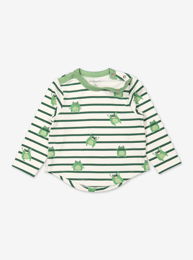 Stripe top with frog print for baby-Unisex-0-1y-White