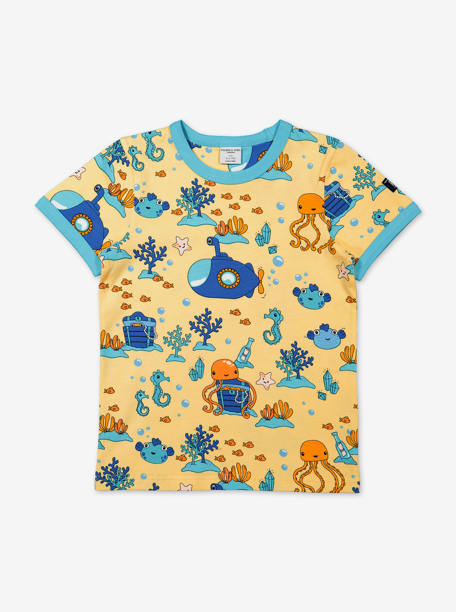 Underwater Print Kids T-Shirt-Boy-1-6y-Yellow