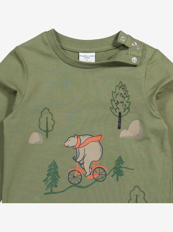 Bear Print Kids Top-Unisex-1-6y-Green