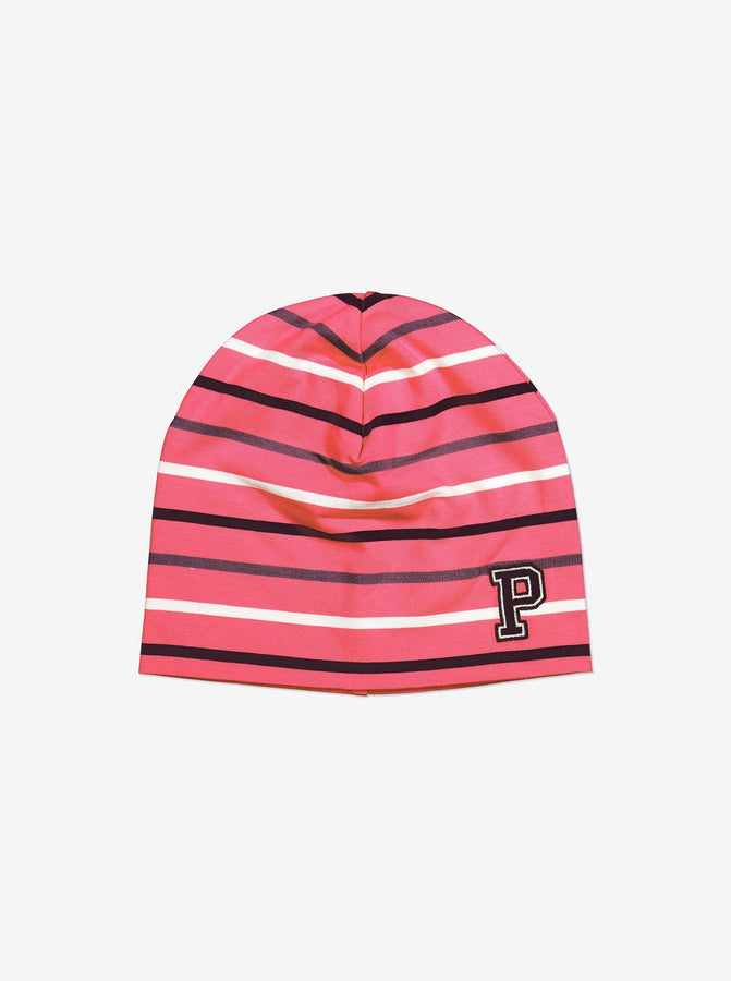 Striped Kids Beanie Hat-9m-12y-Pink-Girl
