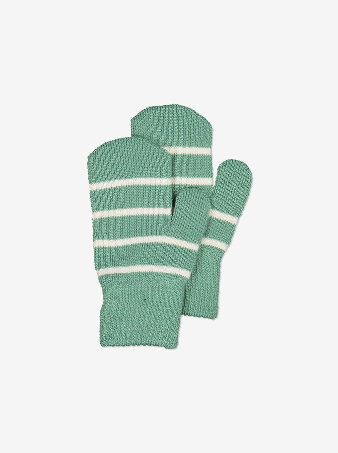 Striped Wool Kids Mittens-6m-4y-Blue-Boy