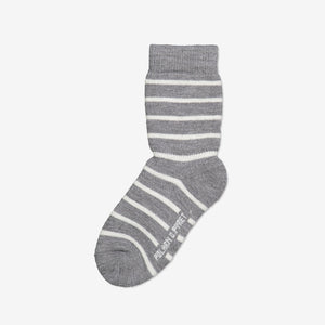 Wool Terry Kids Socks-Unisex-4m-10y-Grey