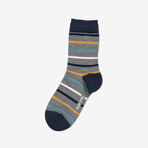 Striped Merino Kids Socks-Unisex-4m-12y-Grey